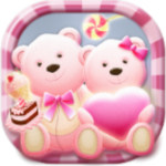Cute Bear love  honey with Pink hearts DIY Theme v3.9.10 APK Download For Android